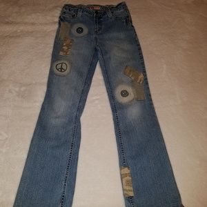 GIRLS*FADED GLORY*SZ 12*PATCHES*FLARE LEG JEANS*
